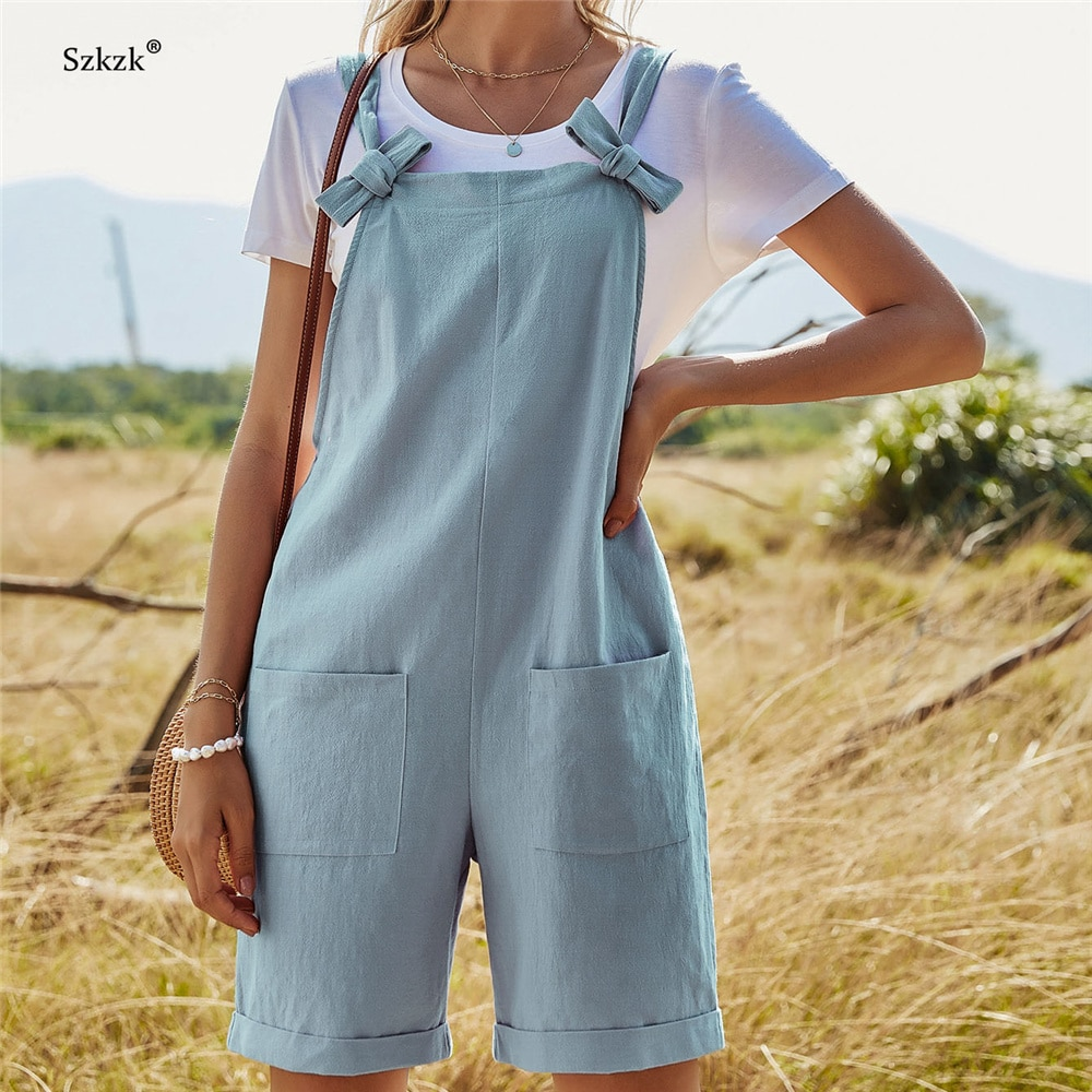 Szkzk Blue Pink Loose Strap Sleeveless Romper Bow Straight Leg Playsuit For Women with Pockets High