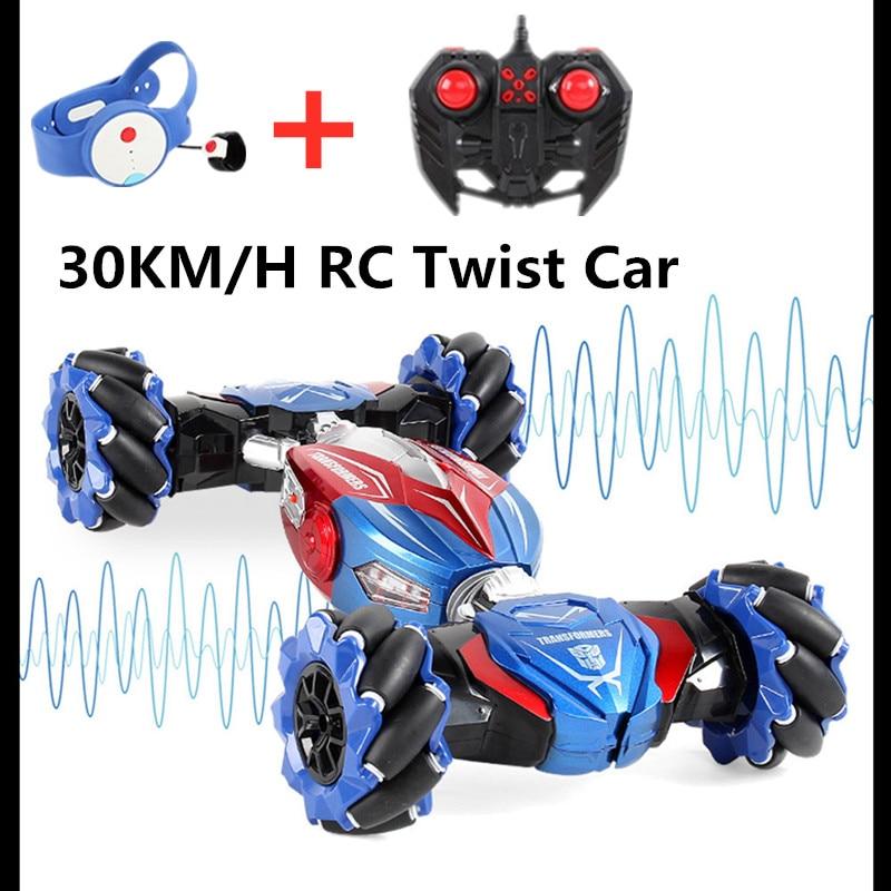 4WD RC سيارة النواء للأطفال راديو لفتة التعريفي 2.4G ساعة التحكم حيلة سيارة لعبة ضوء الموسيقى الانجراف الرقص تويست RC حيلة Vehical الهدايا