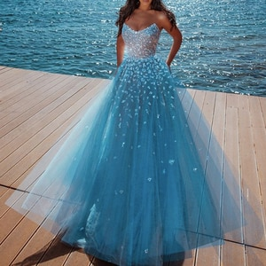 blue prom dresses 2020 crystal beading sequins sparkly a line tulle evening dresses formal dresses arabic party dresses