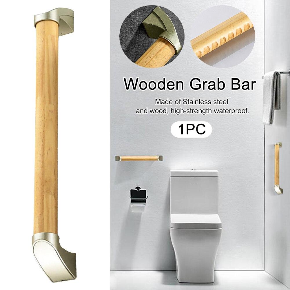 المنزل الحمام مقاوم للماء الثقيلة لكبار السن مستقيم عدم الانزلاق دش الحائط الثابتة سلامة مقبض إمساك خشبي دائم