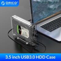 Прозрачный корпус ORICO для жесткого диска 3,5 дюйма, 2,5/3,5 дюйма, бокс для жесткого диска, чехол для жесткого диска SATA к USB 3,0, док-станция для жест...