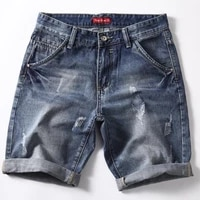classic denim shorts men summer fashion casual slim fit ripped blue short jeans male brand clothes