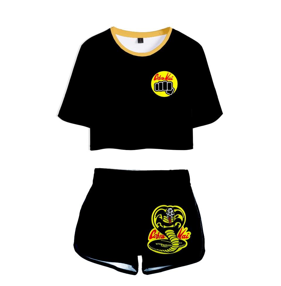 Karate Kid Cobra Kai Dew Navel T shirt Summer Short T shirt + Women Shorts Two Piece Set Summer 3D Students Karate Kid Tops Tees