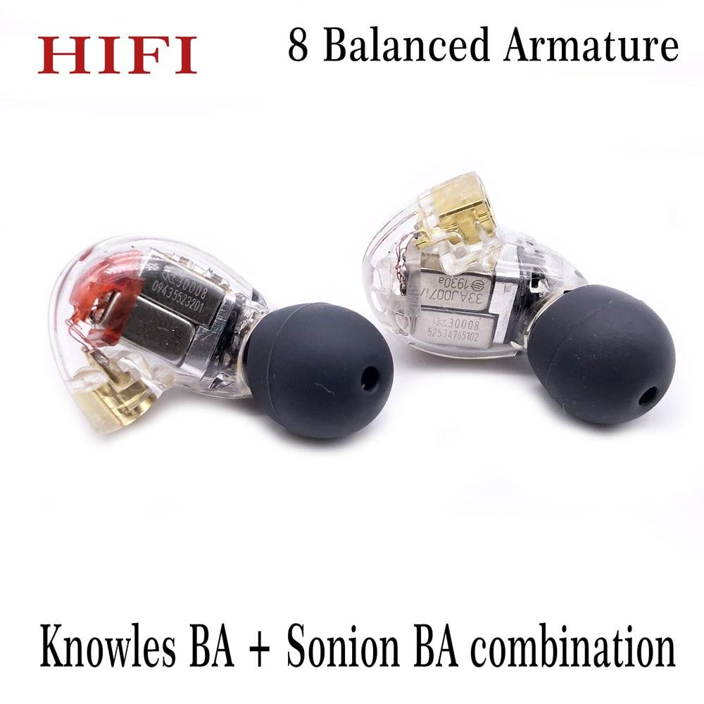 Наушники-вкладыши для Shure SE846, сбалансированные водители с системой Hi-Fi, изготовленные на заказ, MMCX 8BA, для Knowles BA + Sonion BA