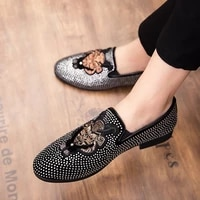 plus size chaussure home brand noble black rhinestone mens formal shoes office business party mens casual shoes zapatos hombre