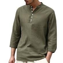 Camisa de moda para hombre 2019 Color sólido media manga Casual V corbata hebilla tendencia Camisa de algodón para hombre