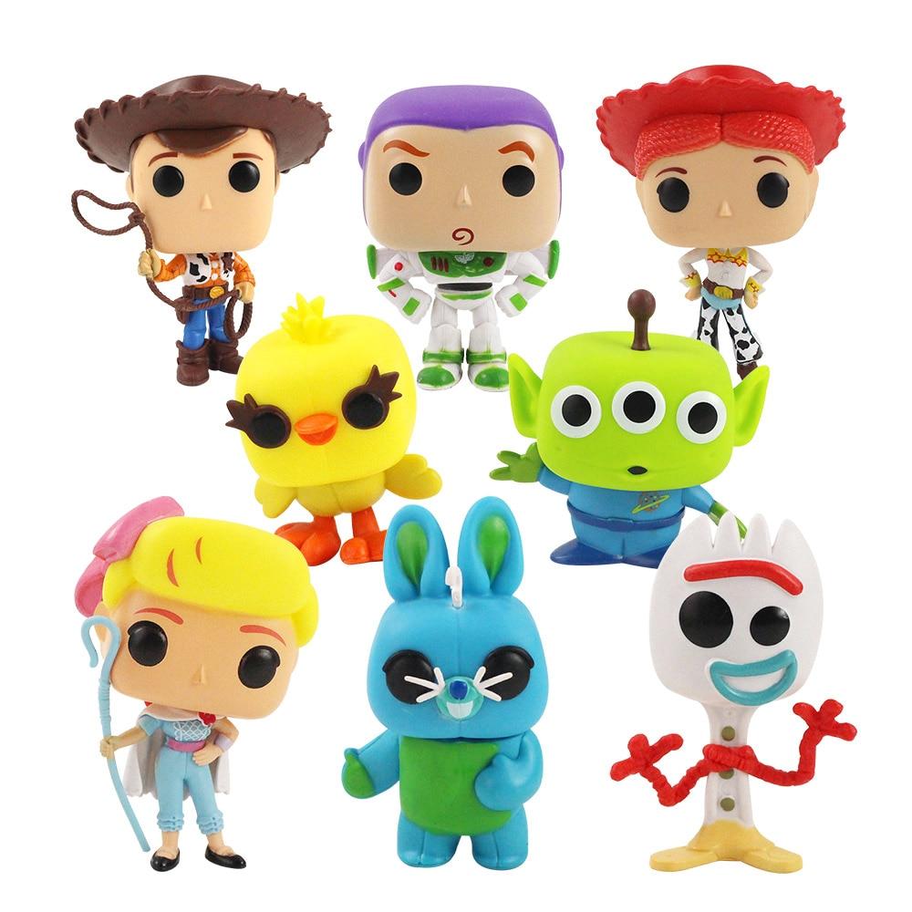 8 Uds 9cm-12cm cifras Woody Buzz Lightyear Forky Bo Peep Gabby Bunny Ducky Jessie apretar los extranjeros figuras en miniatura de juguete