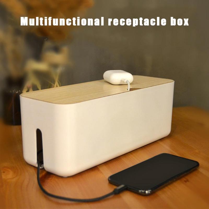 Boîte de rangement amovible   Couvercle amovible Design émission de chaleur, câble Anti poussière, boîte de rangement, organisateur de prise de chargeur, organisateur de bureau, rangement à domicile
