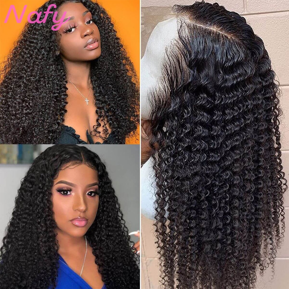 On Sale 28 Inch 180 Density Kinky Curly Human Hair Wigs t Part Lace Frontal Wigs For Women Brazilian Curly Wig Lace Front Wigs