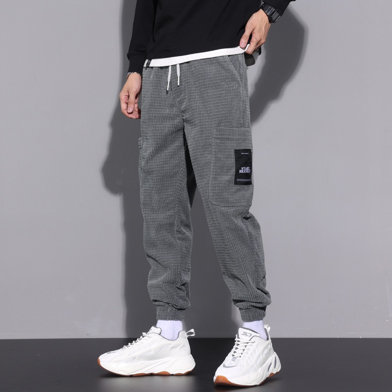 Corduroy Sports Pants Men's Autumn New Trendy Loose Tappered Sweatpants Large Size Plaid Casual Long Pants mens fashion