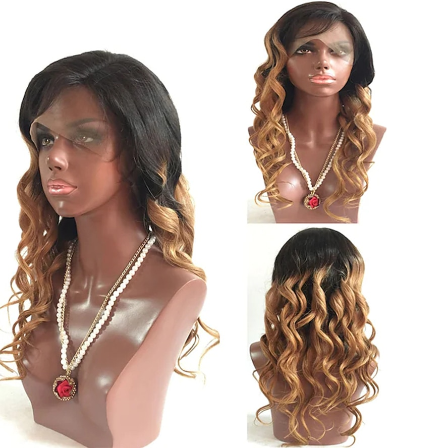 Human Hair Glueless Lace Front Lace Front Wig style Brazilian Hair Body Wave Wig 130% Density with Baby Hair Ombre Hair Wig