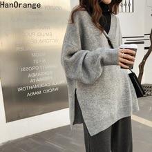 Jersey tejido de punto para mujer, Invierno 2020, hendidura suelta, suéter grueso para mujer