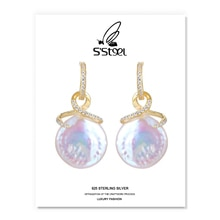 S'STEEL Baroque Pearl Drop Earrings Gift For Women Sterling Silver 925 Earring Zircon Luxury Earings
