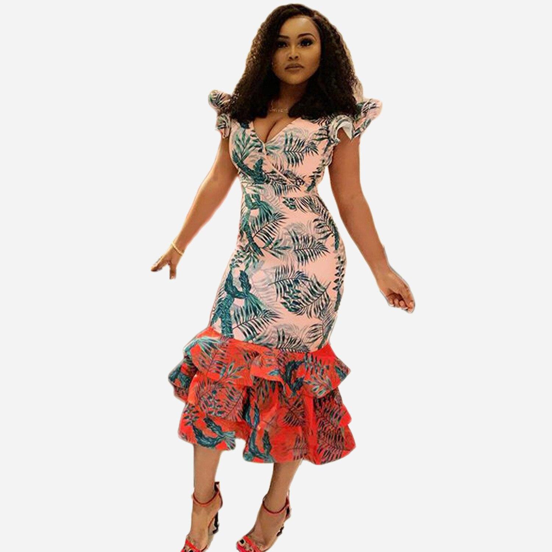 robe africaine femme Summer short sleeve v neck printed hemline ruffle bodycon party midi dress  african dresses for women
