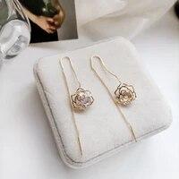 trendy jewelry flower earrings pretty design high quality aaa zircon sweet temperament dangle earrings for women gifts