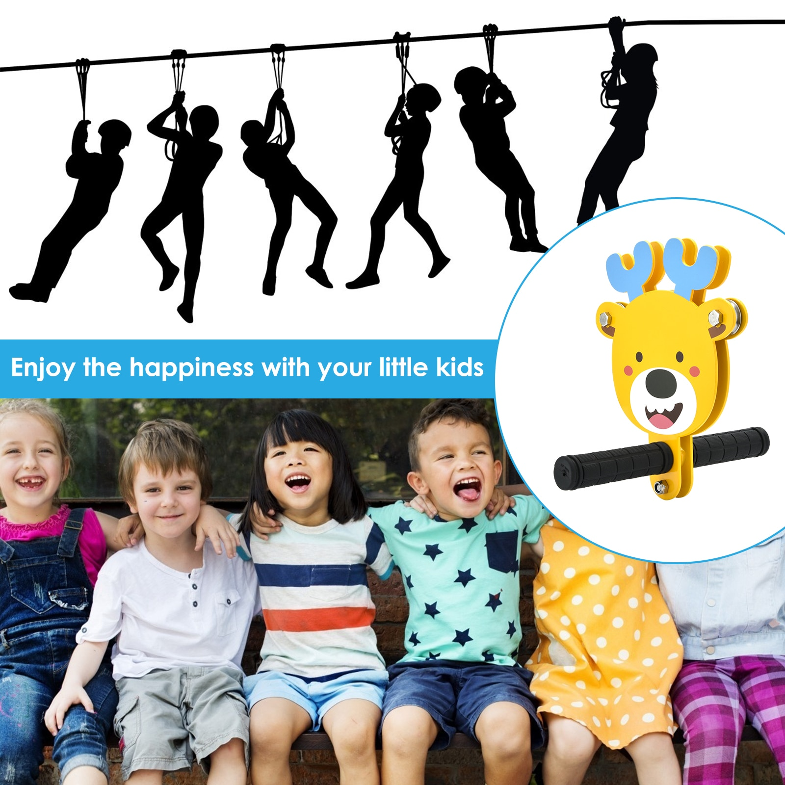 80/100/120ft  ZipLines  For Kids Heavy Duty Compound Galvanized Steels Cable Zip Line Kit Stainless Steel Spring Brake Seat enlarge