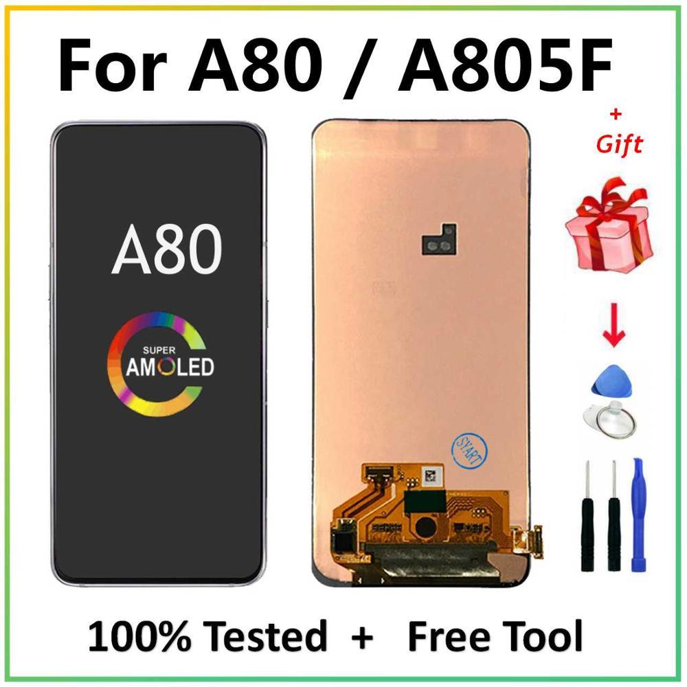 الأصلي لسامسونج غالاكسي A80 A805F/DS A805F A805FD A805A LCD عرض تعمل باللمس محول الأرقام الجمعية لسامسونج 80 lcd
