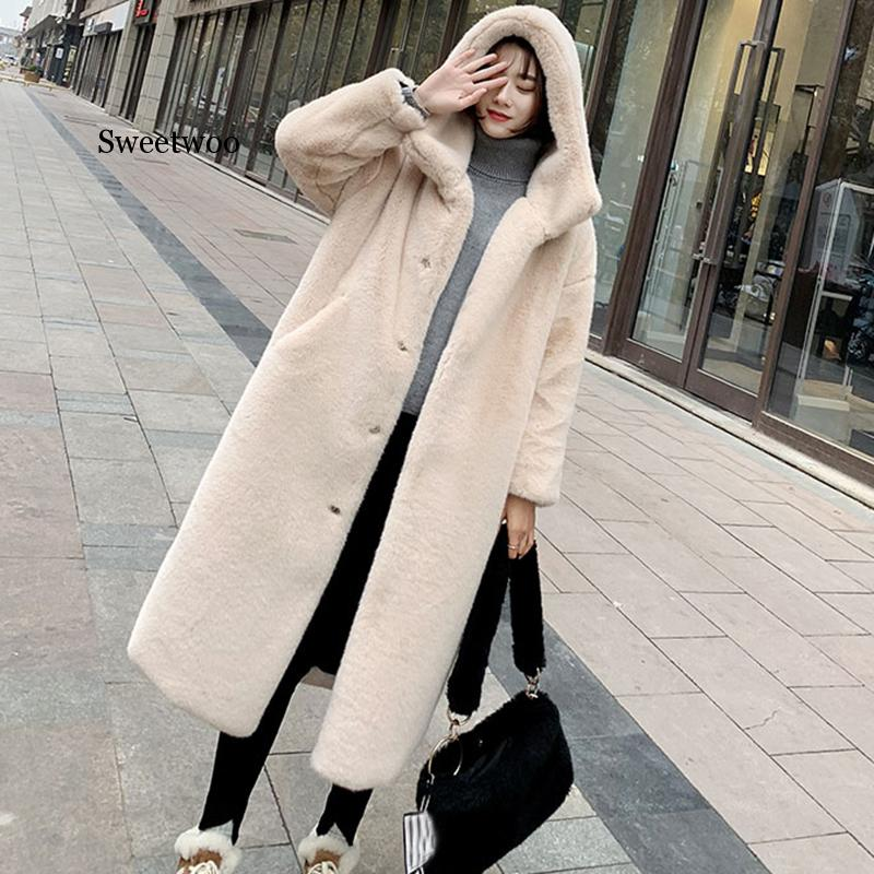 winter jacket outerwear women high quality faux rabbit fur coat loose lapel overcoat thick warm female plush coats f108 Winter Women High Quality Faux Rabbit Fur Coat Luxury Long Fur Coat Loose Lapel OverCoat Thick Warm Plus Size Female Plush Coats