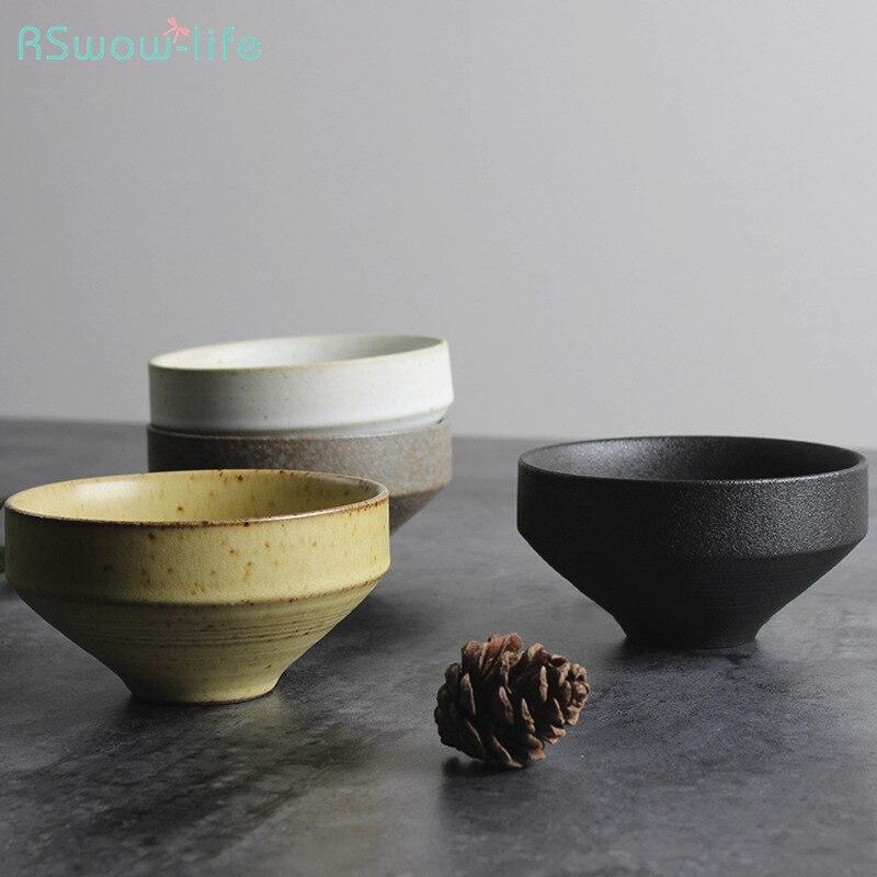 Suministros de vajilla de té, cuencos de sopa de ensalada, cuencos de fideos de arroz hecho a mano, cerámica Simple texturizada de estilo japonés