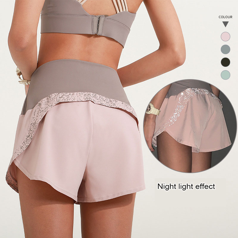 2021 Women Summer Sports Luminous Shorts  Pants Sweatpants Female Fast Dry Fitness Net Running Yoga Girl