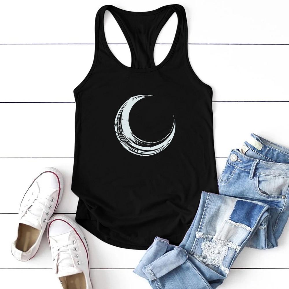 Moon Printed Tank Top Women Sleeveless Tank Tops Women Summer Loose O Neck Vest Femme Casual Plus Si