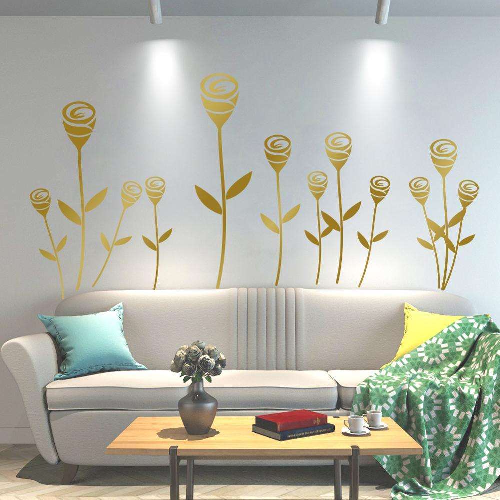 Flores de tulipán romántico pegatina de pared dormitorio TV sofá pared niños habitaciones decoración del hogar papel pintado de pared de vinilo impermeable póster calcomanías de pared