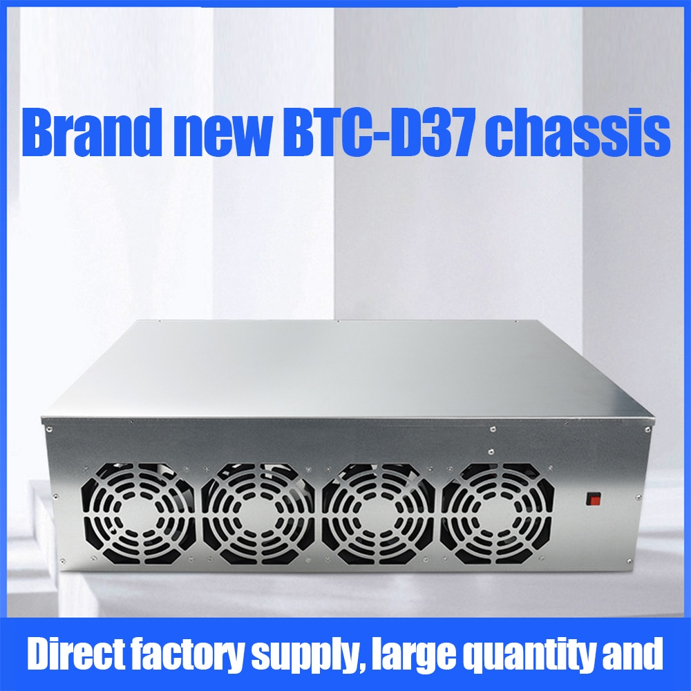 Miner Case Set BTC-D37 Chassis with 4 Fans Motherboard 8 Slots 4GB DDR 128GB SSD 1800W For Mining Machine ETH Ethereum Rig