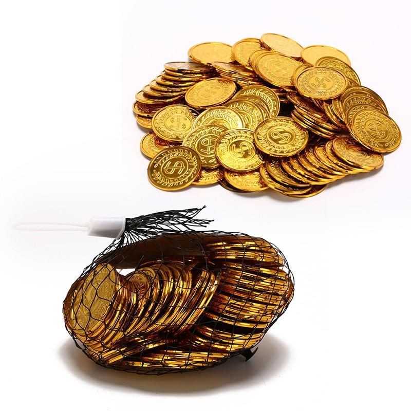 100 unids/pack nuevo Poker fichas de Casino Bitcoin modelo Bitcoin de plástico chapado en oro Prate monedas de oro del tesoro pirata juego de Poker