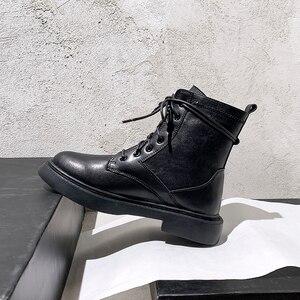 Женские ботильоны на массивной платформе FEDONAS, черные мотоботинки из натуральной кожи, обувь для вечерние на осень 2021