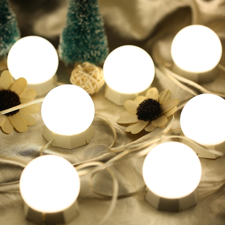 Kit de 10 Luces LED para espejo de tocador con bombillas de luz ajustables, tira de luces led para maquillaje, mesa de tocador, Set para vestidor