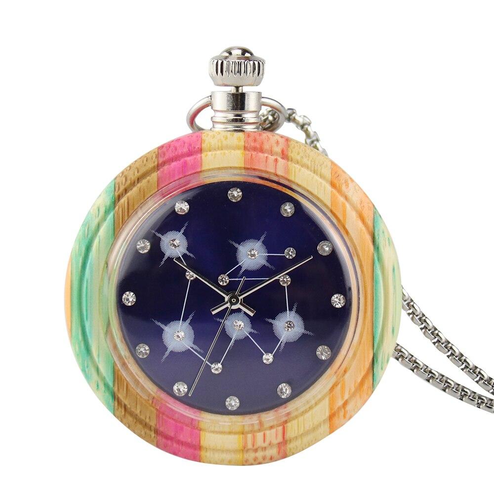 Unique Colorful Wood Quartz Pocket Watch Fashion Candy Color Wooden Round Case Necklace Sweater Chain Clock Relojes de bolsillo