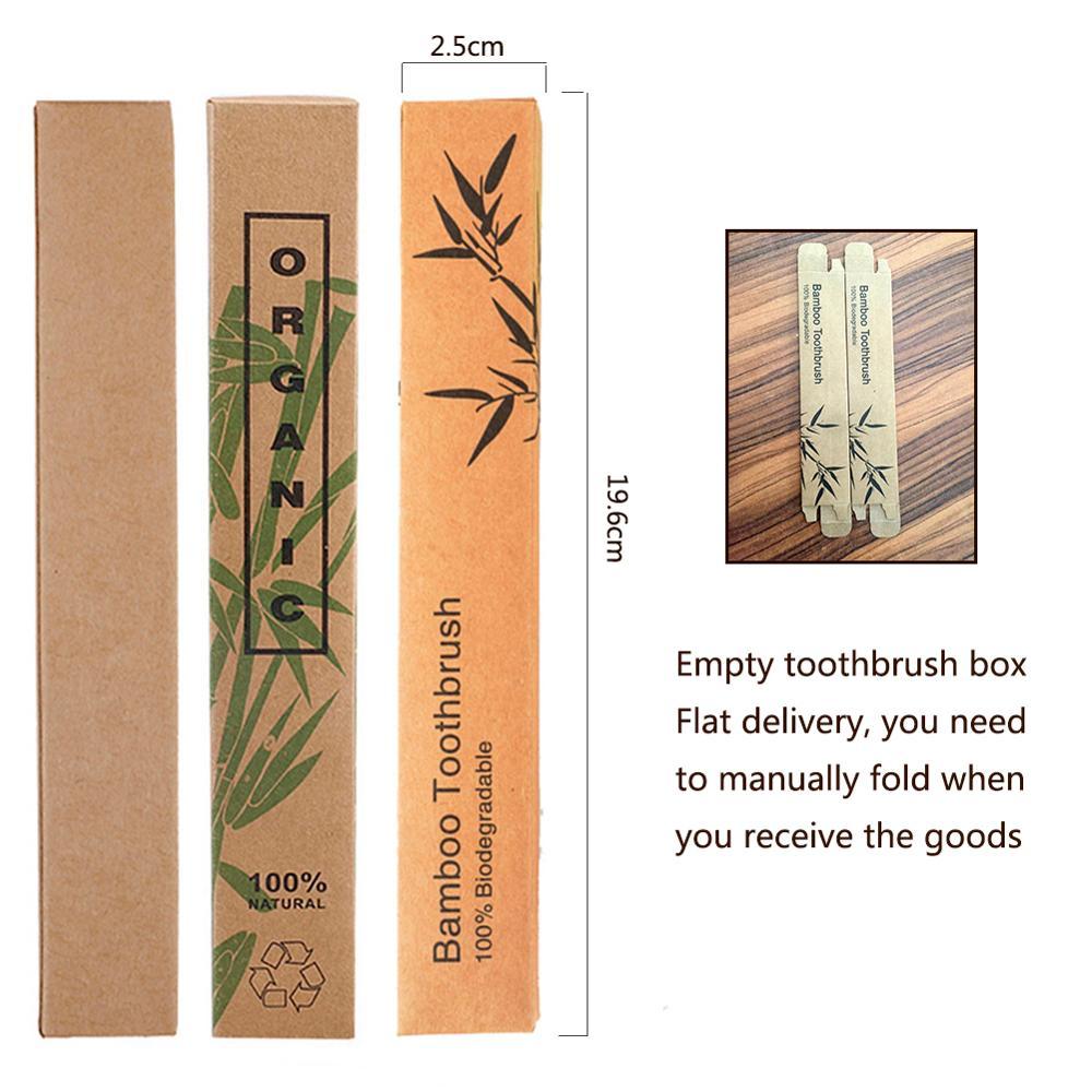 5 uds., cepillo de dientes de bambú Natural vacío, caja de papel Kraft, caja de cepillos de dientes de madera, productos ecológicos al por mayor