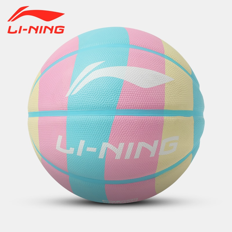 Li Ning Basketball Authentic Wear-Resistant No. 7 Rubber Rainbow Ball Children No. 5 Primary School Students