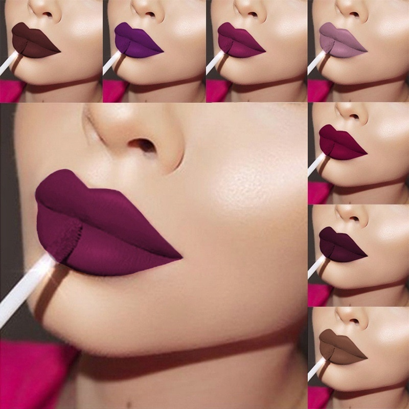 Nouveau rouge à lèvres liquide 24 couleurs mat maquillage rouge à lèvres étanche longue durée Gloss Mate noir rouge à lèvres mat liquide rouge à lèvres