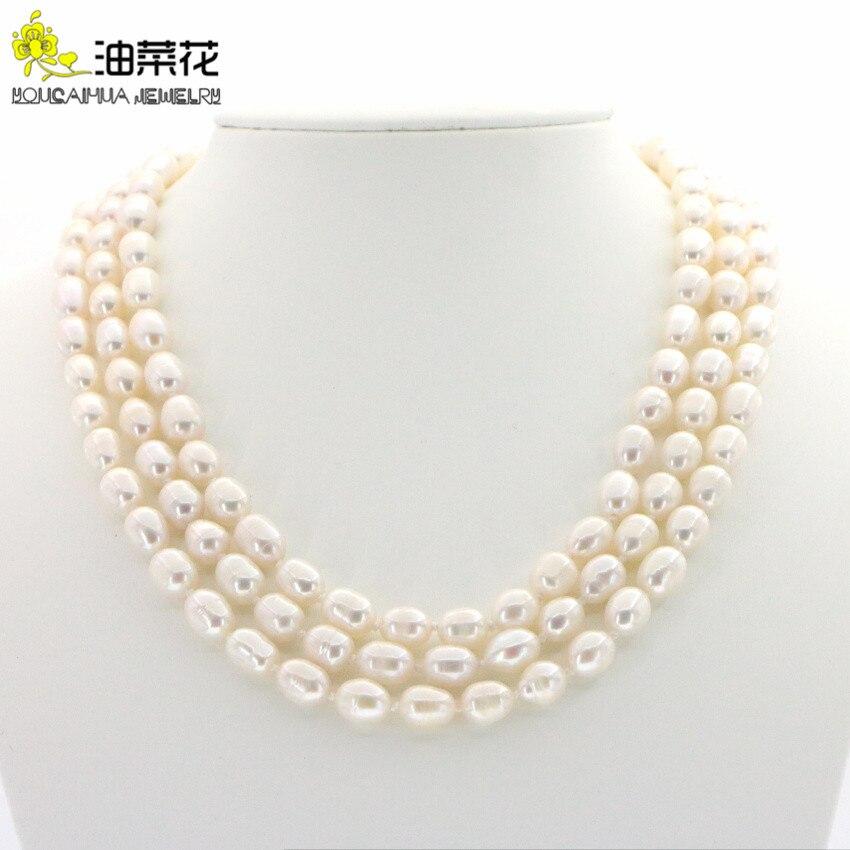 """Collar de perlas de arroz cultivadas de agua dulce blanco Natural de 8-9mm, joyería de moda, diseño, regalos de mujer para chica y mujer de 50"""""""