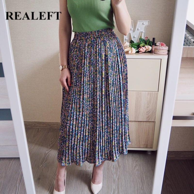 REALEFT, novedad de verano otoño 2020, faldas largas plisado de tul con estampado de leopardo Floral elegante, falda elegante suelta de cintura alta para mujer