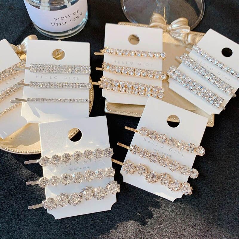 Presilhas de cabelo de luxo femininas 3 pçs/set, grampos de cabelo de luxo cor dourada strass lateral, joias acessórios