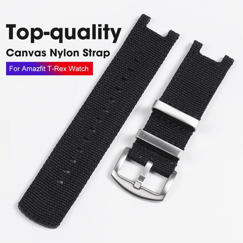 Canvas Nylon Watch Belt For Huami Amazfit T-Rex SmartWatch NATO Nylon Watch Strap  bracelet For Amazfit Watch Band accessories