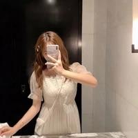 korean dress elegant vintage women one piece dresses designer puff sleeve a line white dress summer office lady clothing party