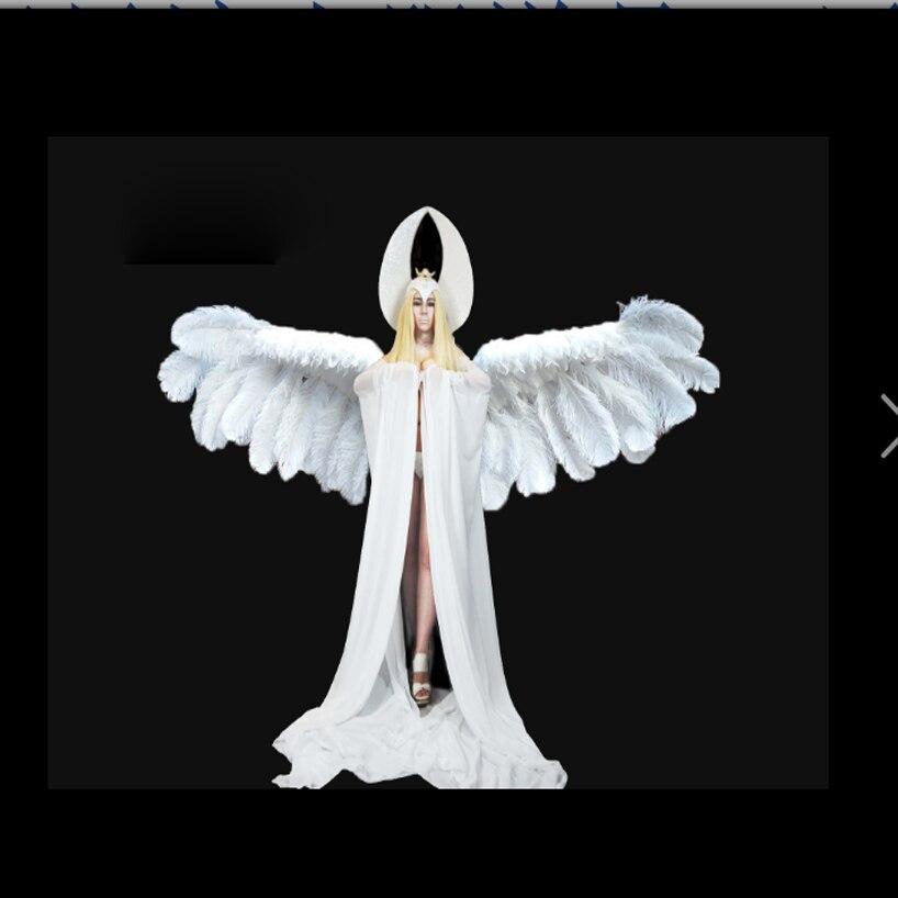 زي جنية الملاك الأبيض ، جهاز تحكم عن بعد كهربائي ، أجنحة الريش ، عرض الأزياء ، بار جوجو ، عرض مسرحي