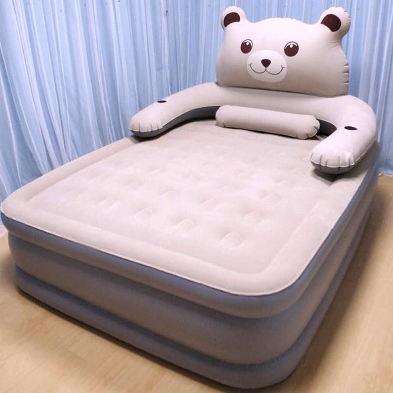 Cama inflable gigante, cama doble de aire para el hogar, colchón de aire grueso, cama de aire portátil para exteriores, cama de aire perezoso, alfombra para acampar al aire libre