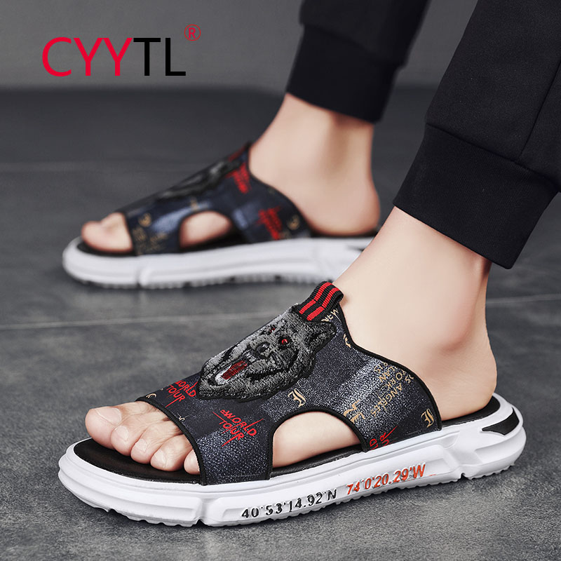 CYYTL Head Animals Printed Men Slippers Open Toe Fashion Outdoor Sport Sandals Breathable Summer Shoes Casual Ciabatte Donna
