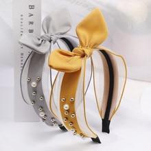 MISHE059 New women cute rabbit ear Knotted hairband Hair accessories Hair hoop clips Girl pearl headwear headbands