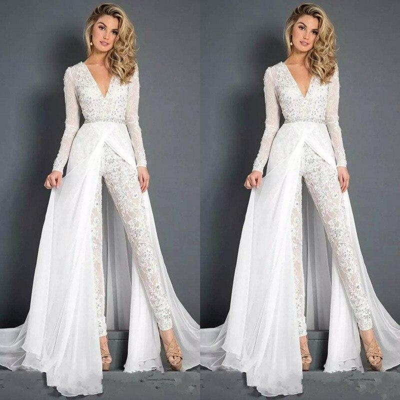 2020 rendas chiffon vestidos de casamento macacões com overskirt modesto decote em v manga longa vestidos de noiva praia calça ternos vestido de noiva