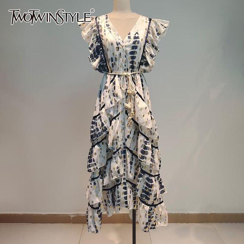 TWOTWINSTYLE خمر خليط كشكش اللباس للنساء V الرقبة أكمام عالية الخصر الدانتيل يصل Bowknot الإناث فساتين 2021 الأزياء