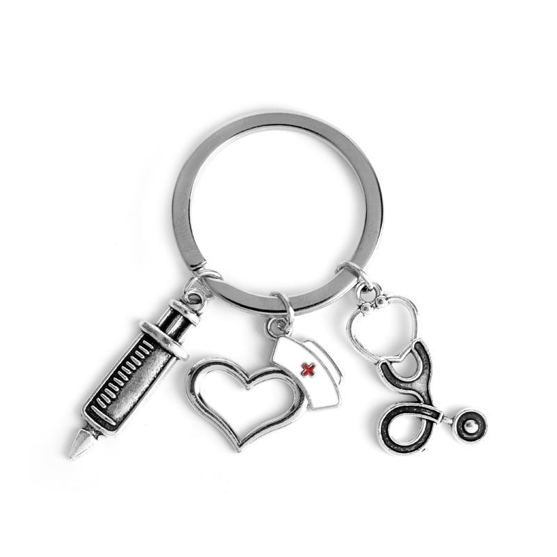 Nueva caja médica de enfermera llavero médico aguja de ambulancia jeringa dije de estetoscopio encanto regalo conmemorativo