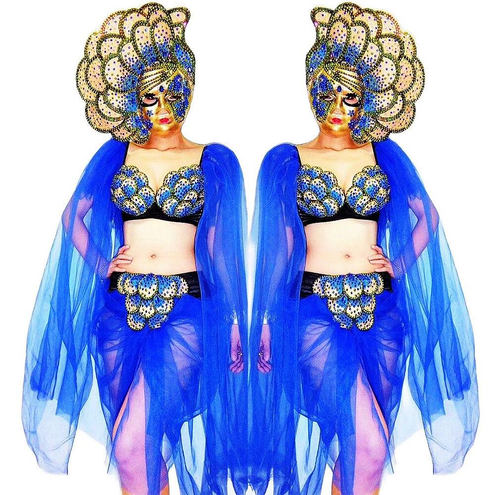 براق الراين يزين بيكيني مجموعات شبكة الشاش شخصية أداء زي السيدات ملابس الرقص ملهى ليلي ازياء