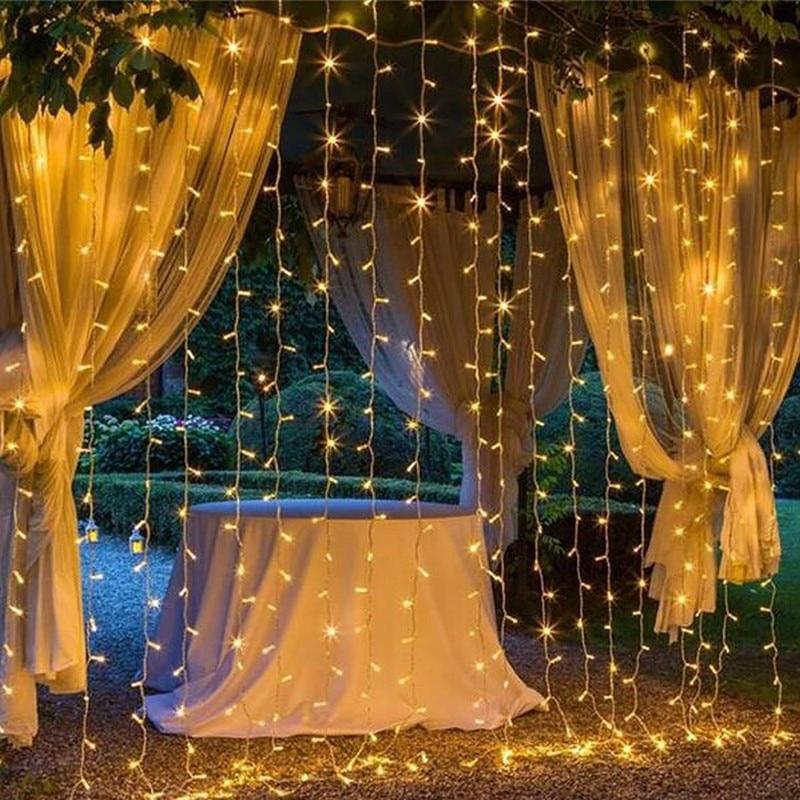 6MX3M LED الستار أضواء الزفاف عيد الميلاد جارلاند ديكور المنزل عيد الميلاد الزخرفية الجنية سلسلة أضواء الولايات المتحدة التوصيل 110-120 Vac