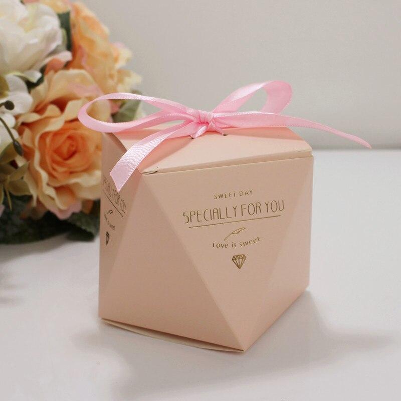 Cajas para dulces caja de dulces boda 5,5*5,5*6 cm decoración de papel único en forma de diamante regalo de fiesta