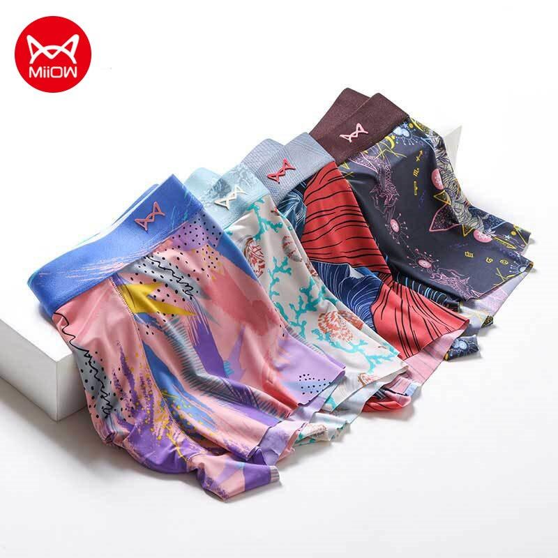 Mijia MiiOW 4pcs Men Ice Silk Panties Thin Seamless Men's Underwear Breathable Sexy Boxer Shorts Pri